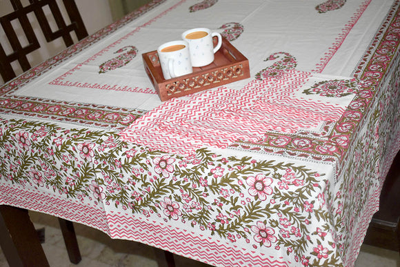 Block Printed Cotton Table Cover with 6 Napkins