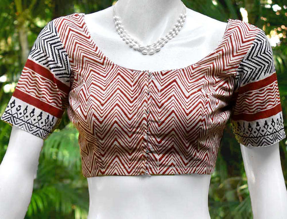 Block Printed cotton Blouse - Size 36