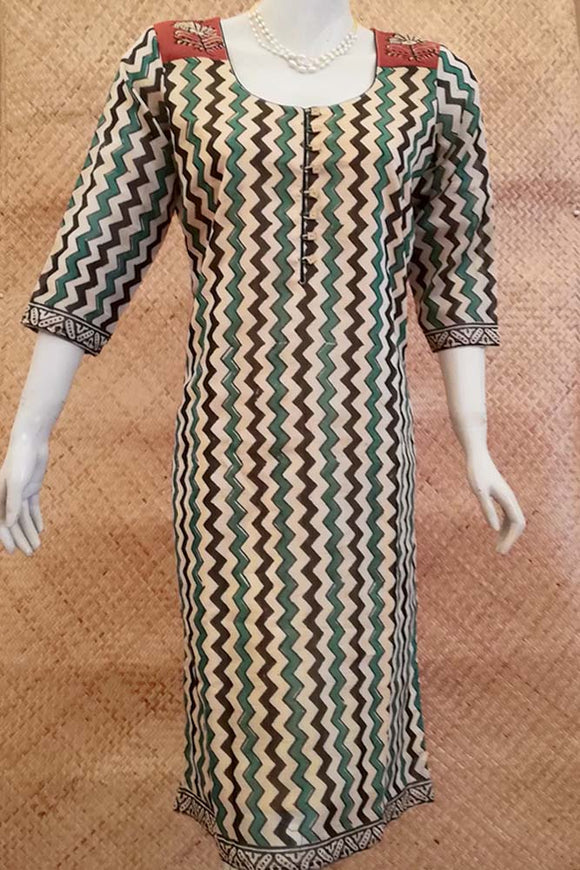 Elegant Block Printed Chanderi Long Kurta