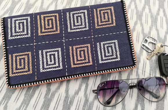Handcrafted Jute Passport Cover with cross stitch Embroidery