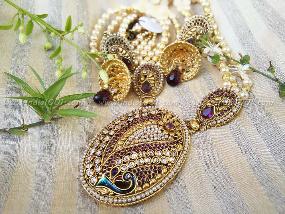 Designer Kundan, Meenakari & Pearl Necklace Set
