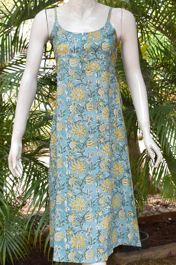 Elegant Hand block Printed Cotton dress with adjustable shoulder strap length