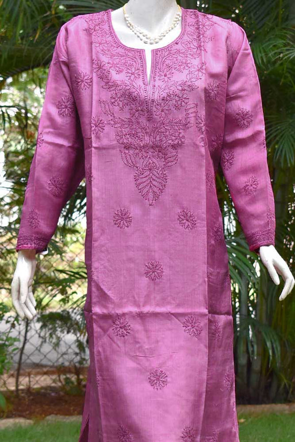 Semi stitched Desi Tussar Kurta fabric with Chikankari work