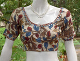Hand Painted Kalamkari Blouse with mirror work  - size 38, 42