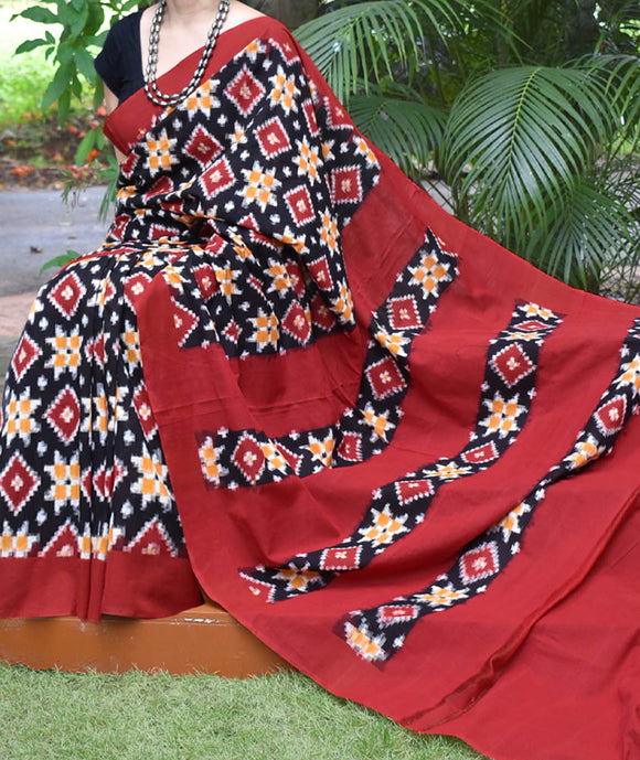 Handwoven Telia Rumal Double Ikat Cotton Saree