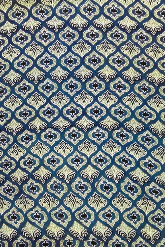 Ajrakh Block Printed Rayon Cut ( blouse) Fabric