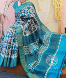 Elegant Block Printed Tussar Silk Saree with Woven Zari border