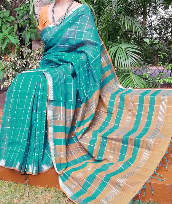 Elegant Mangalgiri Cotton Saree with Silver zari checks and border