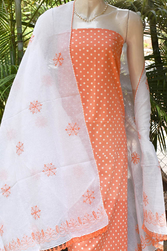 Beautiful Block Printed Cotton unstitched suit fabric with Kota Chikankari dupatta