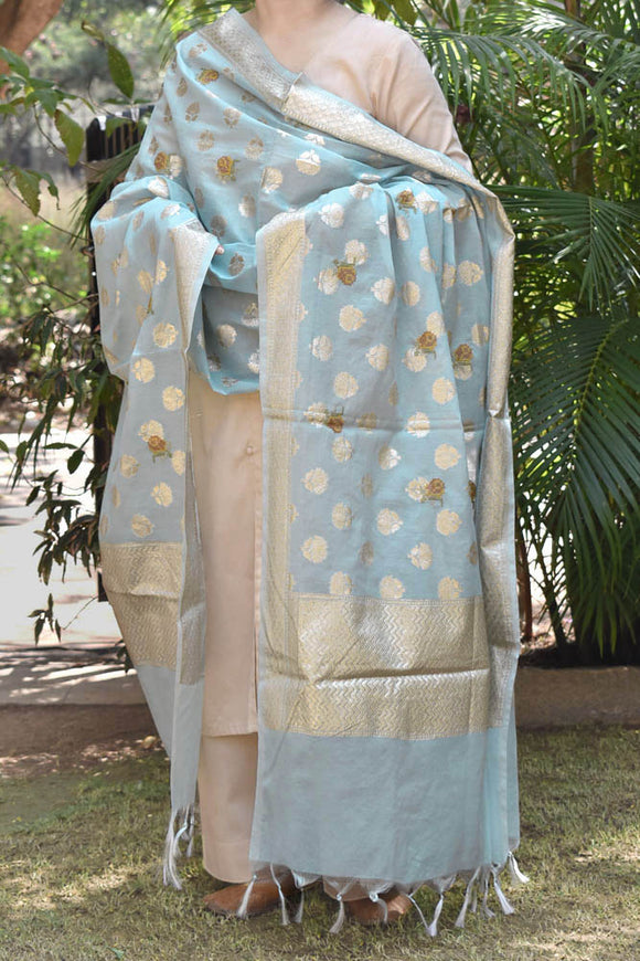 Beautiful Si-co Banarasi dupatta with Embroidery