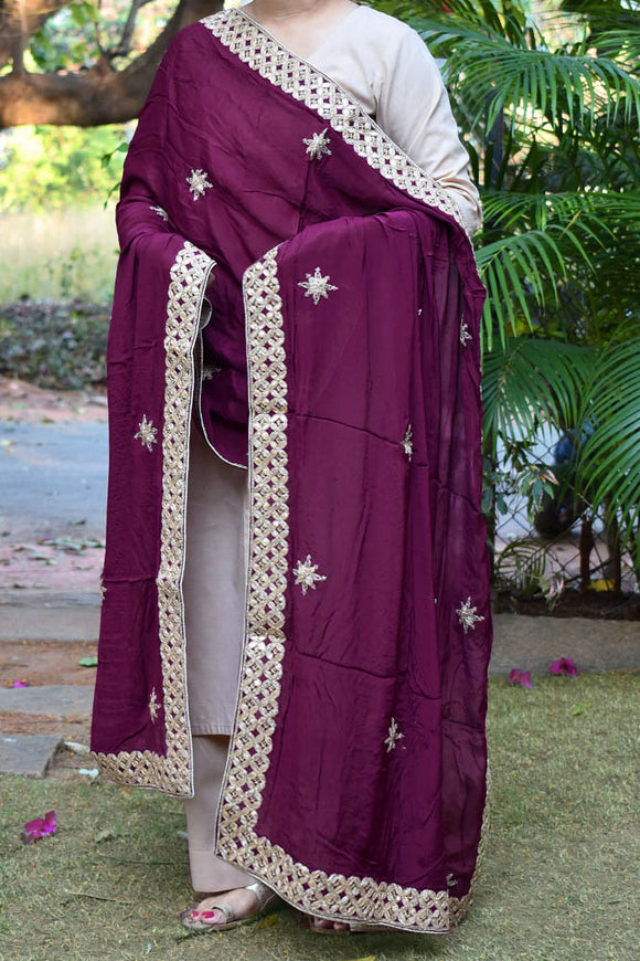 Beautiful Chinon Dupatta with embroidery