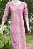 Hand Block Printed Cotton Kurta with Lace