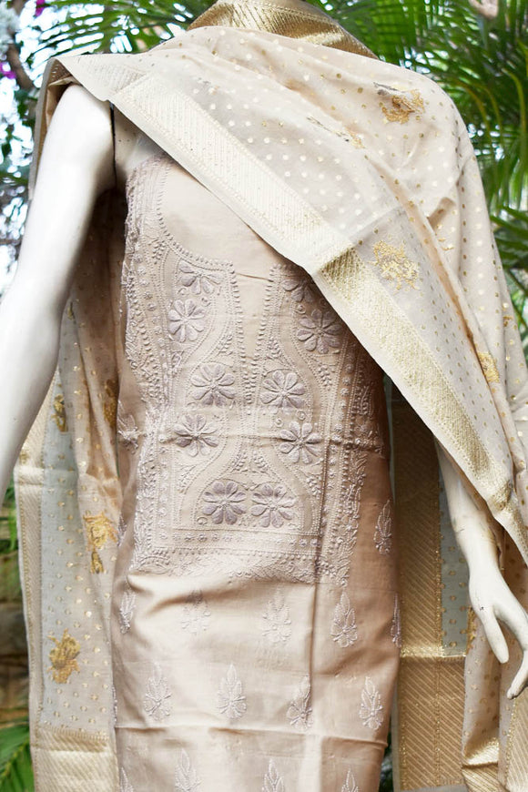 Elegant Chanderi  Kurta with Chikankari work & Fine Banarasi Dupatta with embroidery
