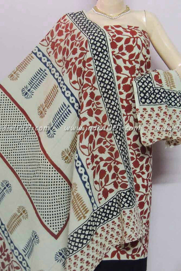 Beautiful Bagru Block Printed Cotton unstitched suit fabric