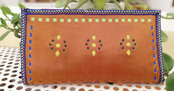 Handcrafted Kutch Punch craft Leather Clutch / Wallet with zipper