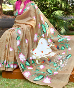 Fine and Elegant Handpainted Pichwai Art saree