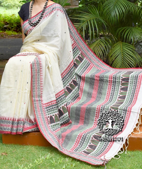 Elegant Bengal Khadi Cotton Saree with Dongria Inspired Motifs