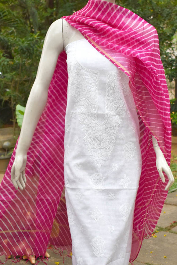 Elegant White Kota Cotton Kurta with Chikankari & Leheriya kota silk dupatta set