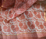 Beautiful Kota Silk Saree with Dabu Hand block print
