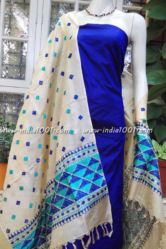 Hand Embroidered Phulkari Work Dupatta with Silk/silkcotton Kurta & dupatta fabric