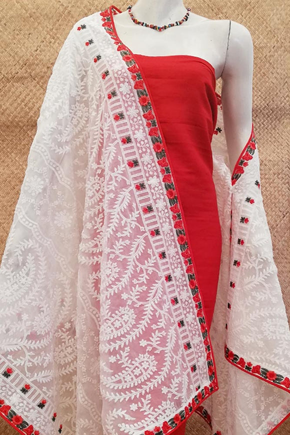 Embroidered Georgette dupatta with embroidered and stitched borders