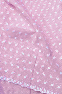 Cotton Voile Fabric with Printed dots &  Embroidery ( 2.5mtrs)