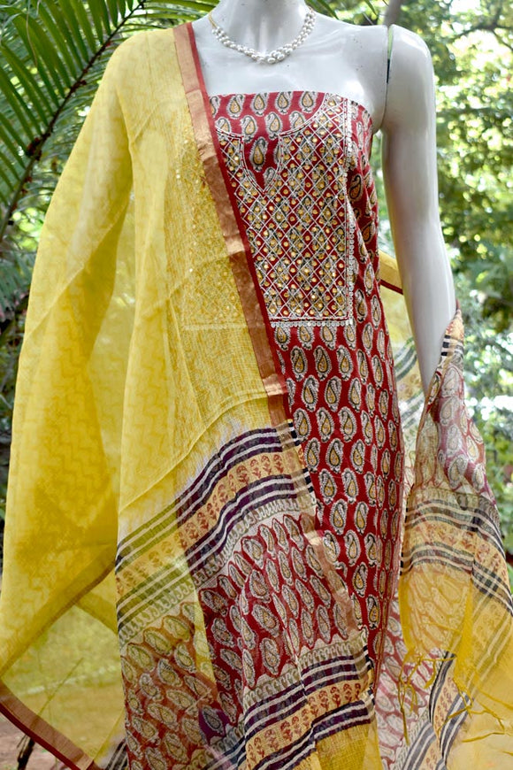Beautiful Cotton suit with Hand embroidery