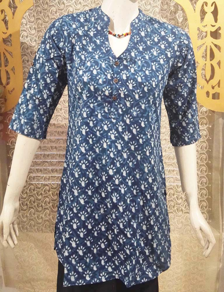 Elegant Block Print Cotton Medium Length Kurta - Size -38