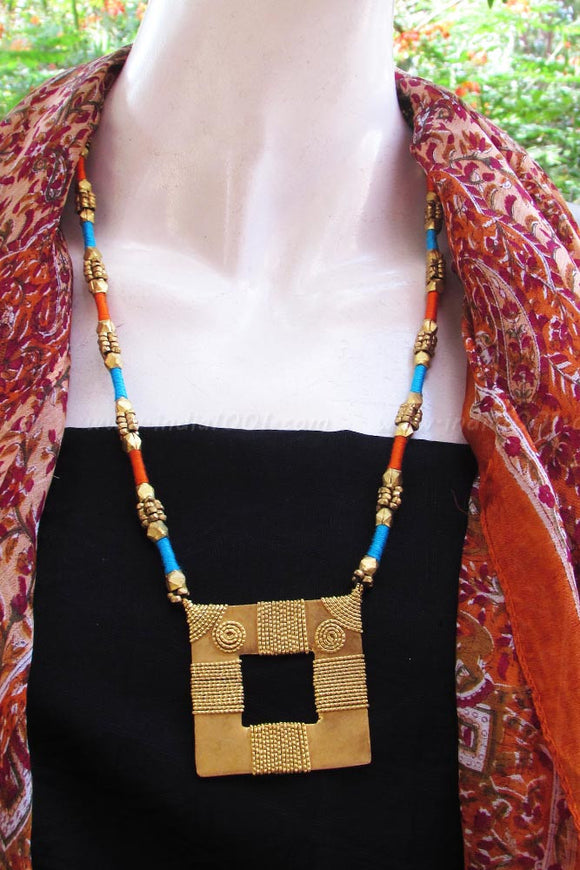 LongThread necklace with Beads & Antique Pendant