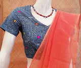 Dabu block Printed Cotton Blouse with Hand Embroidery - size - 38 , 40