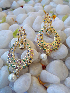 Designer and fine Kundan and Polki Cut work Earring
