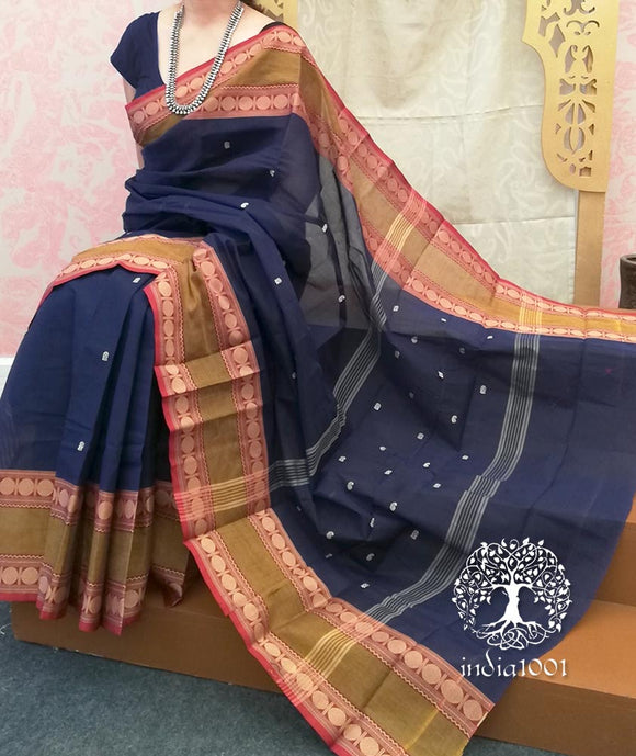 Chettinad Cotton Saree with Woven border( without BP)