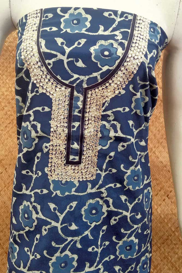 Cotton Kurta fabric with Hand Embroidery, sequin/mirror work