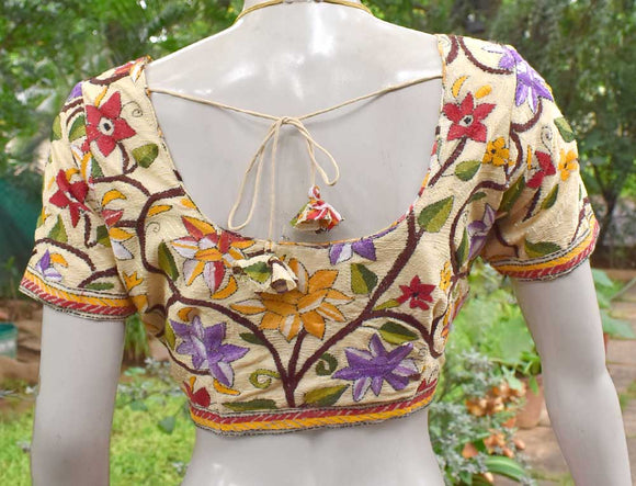 Hand Embroidered Nakkshi Kantha  Blouse Size - 38, 40