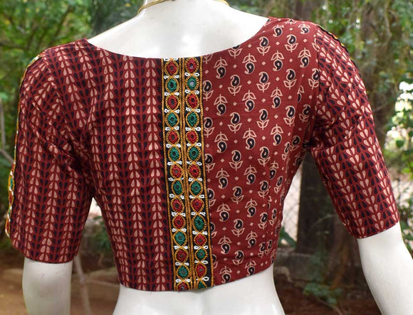 Block Printed Ajrakh cotton Blouse with embroidery Lace - Size 38