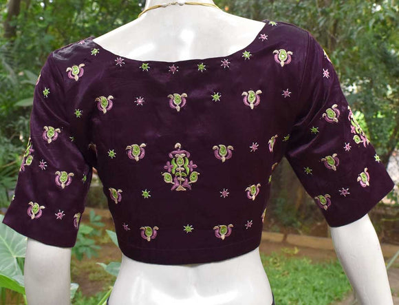 Beautiful Mashru Silk Fabric Blouse with Kutch Mutva Work Embroidery- size 42