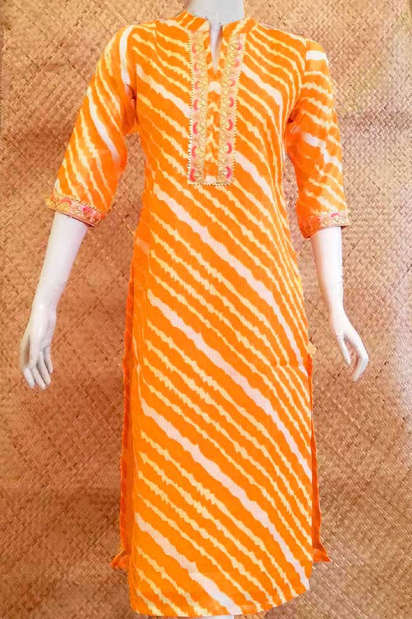 Kota Silk Cotton  Kurta with gota & embroidery work