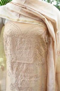 Elegant Chanderi  Kurta & Dupatta Set with Hand Chikankari Embroidery work