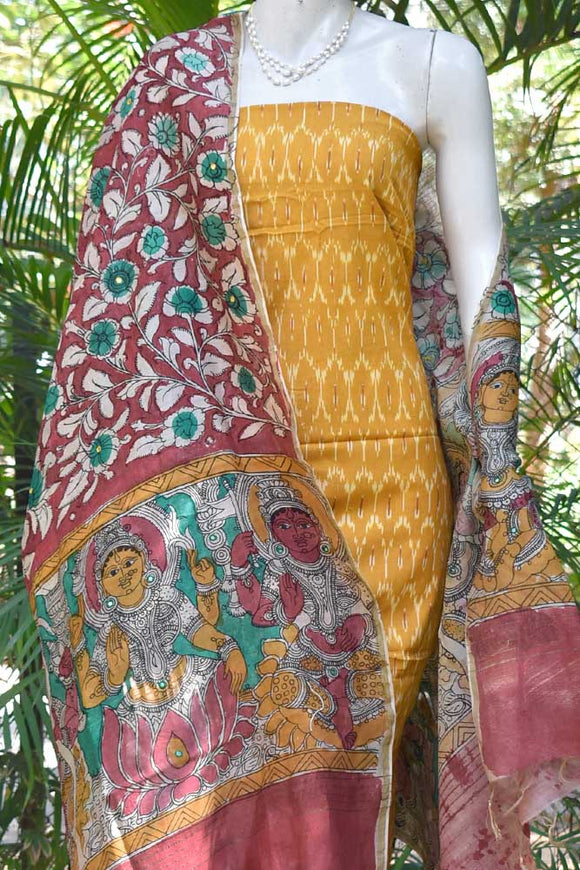 Hand Painted Mirror work Kalamkari Dupatta with Woven Ikkat Cotton Kurta