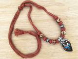 Ceramic and German silver thread necklace