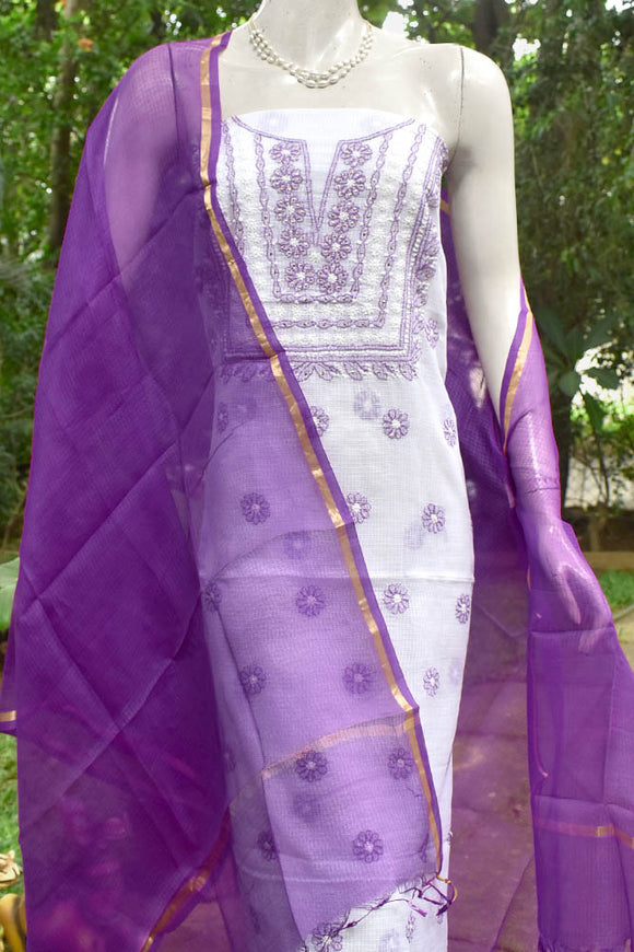 Kota Silk Dupatta with embroidered Chikankari kurta fabric & Muqaish work