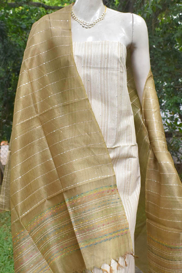 Elegant Tussar Silk Suit with woven Sequins