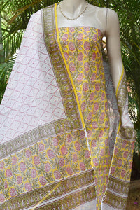 Elegant Kota cotton unstitched suit fabric