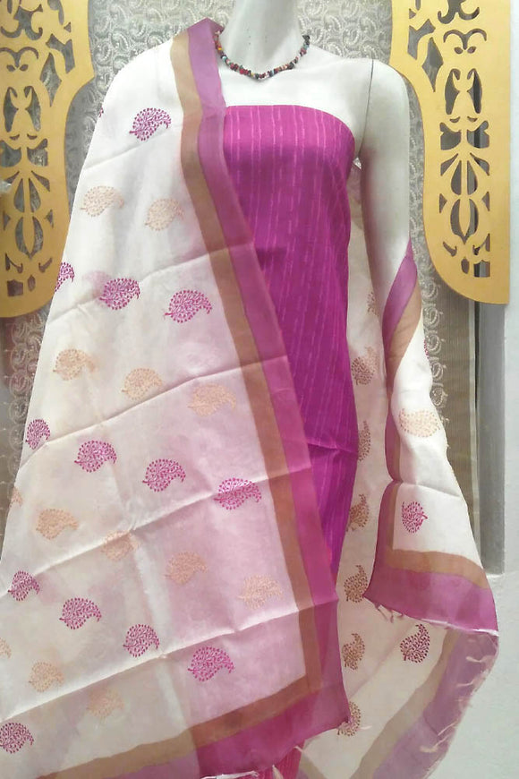 Fine Tussar Silk Dupatta with block print & embroidery