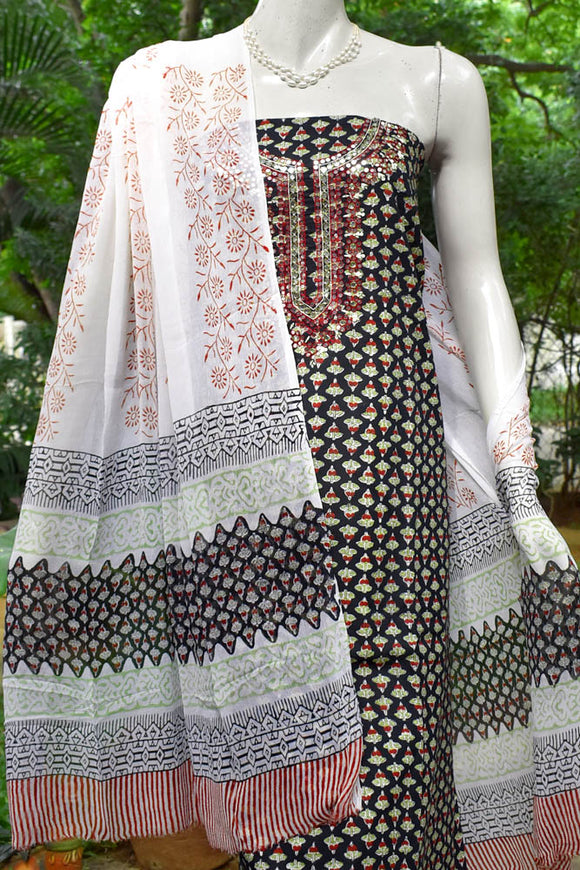 Beautiful Cotton suit with Mirror work & Hand embroidery