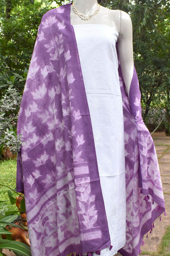 Handcrafted Shibori dupatta with embroidered Chikankari kurta fabric