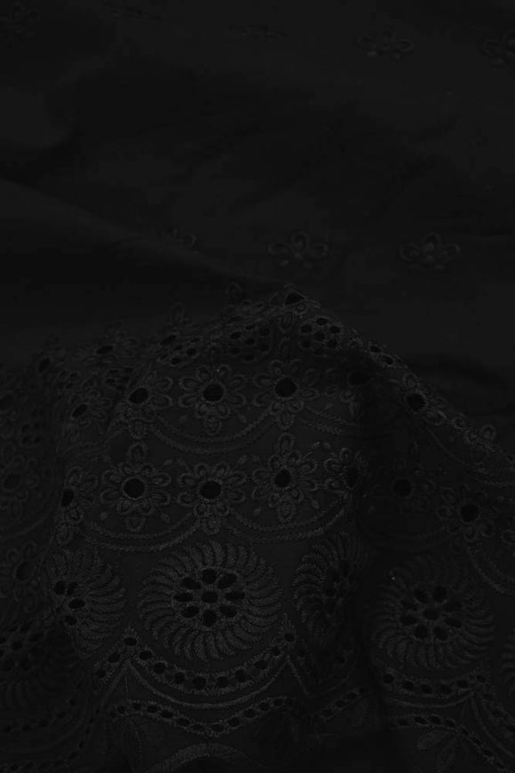 Black Cotton Voile Fabric with Embroidery & cutwork( 2.5mtrs)