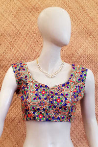 Sleeveless  Art Silk Embroidered Blouse ,  Size - ( 36)