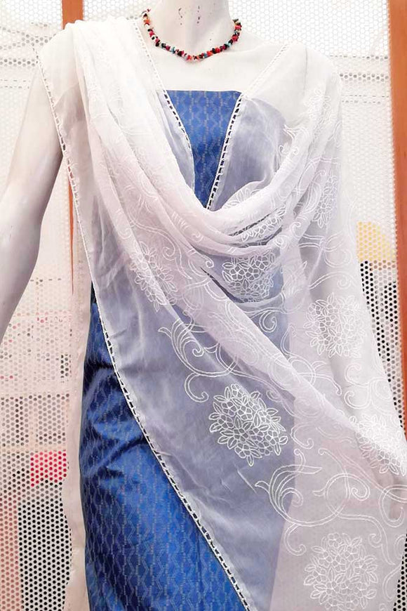 Elegant Chiffon dupatta with embroidery and crochet borders