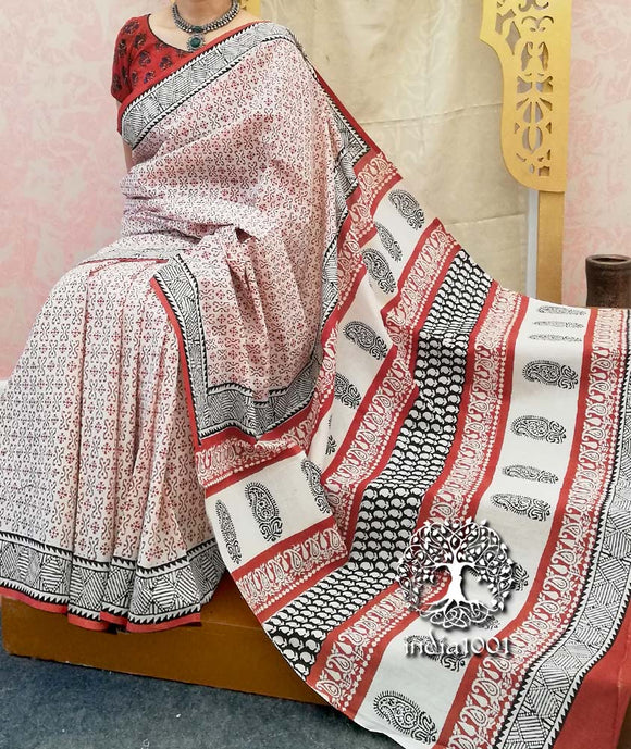 Beautiful Bagru Hand Block Printed Cotton Saree